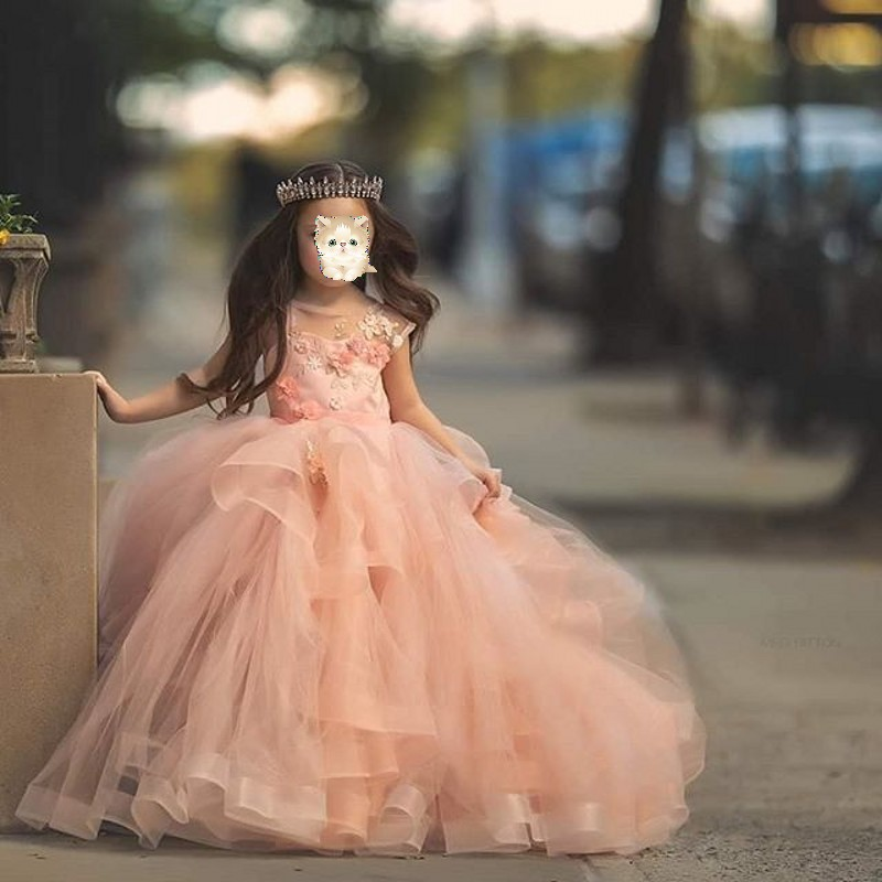 Coral Flower Girl Dresses Floral Applique O-Neck Fluffy Girl's Birthday First Communion Dresses For Girls Party Gowns