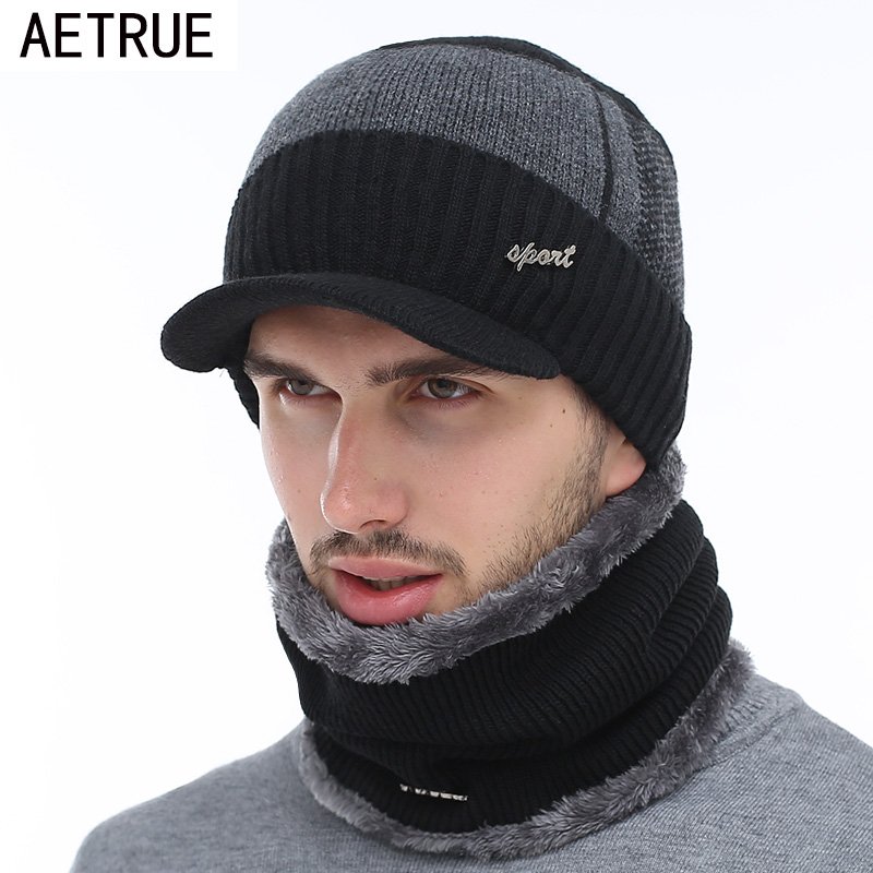 AETRUE Winter Hats Bonnet Beanies-Hat Scarf Balaclava-Mask Skullies Women Wool Caps