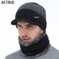 AETRUE Зимние шапки Skullies шапочки шапка зимние шапочки для мужчин женщин шерстяной шарф головные уборы, Балаклава маска капор вязаная шапка