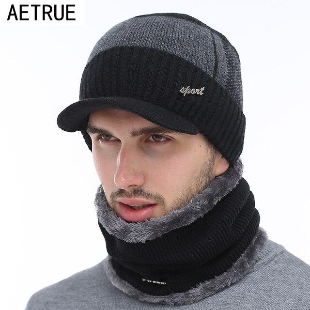 AETRUE зимние шапки Скалли зимняя шапка бини для мужчин женский шерстяной шарф головные уборы, Балаклава маска вязаная шапка вязаная