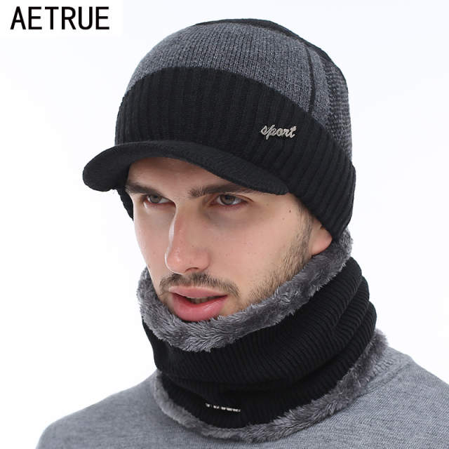 AETRUE Winter Hats Skullies Beanies Hat Winter Beanies For Men Women Wool  Scarf Caps Balaclava Mask. placeholder ... f9f350abe3f5