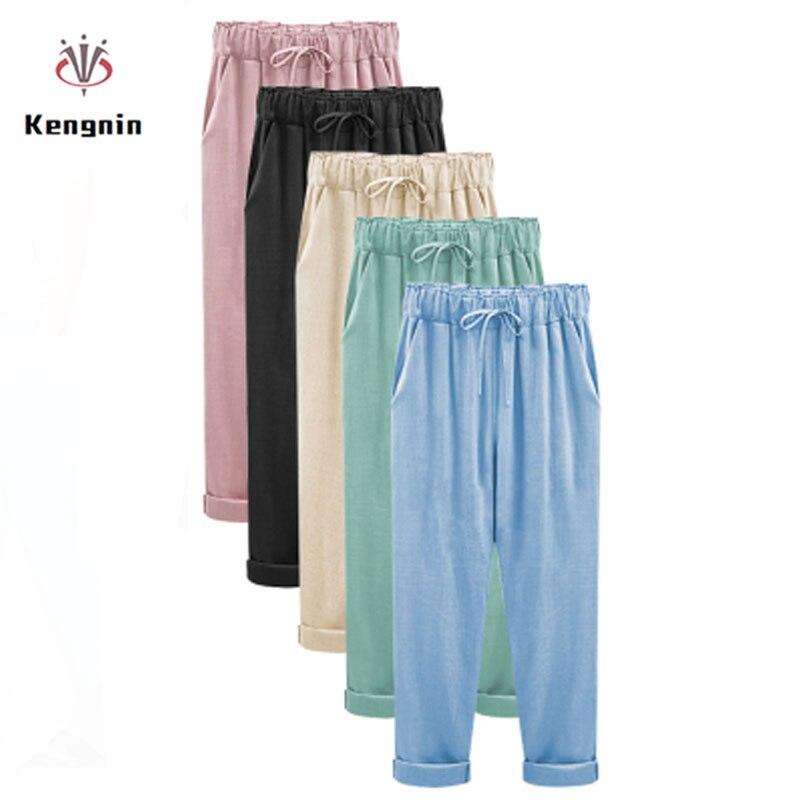 2019 Summer European Style Plus Size XL- 6XL Women Trousers Cotton Linen Ladies Thin Haren   Pants   Drawstring Anklet Length   Capris