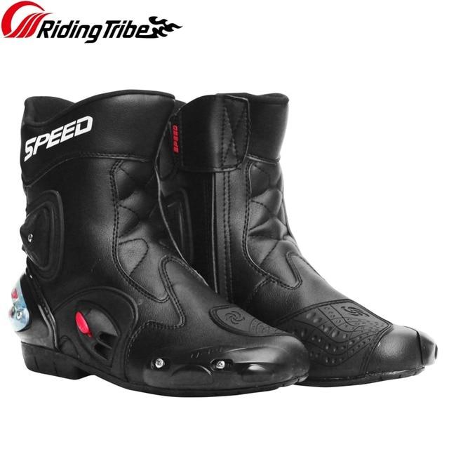 Sürme Kabile Erkek Motosiklet Yarış Botları koruyucu donanım Kalabalıklık Önleme Anti-skid Shifter Ayakkabı Motosiklet Aksesuarları A004