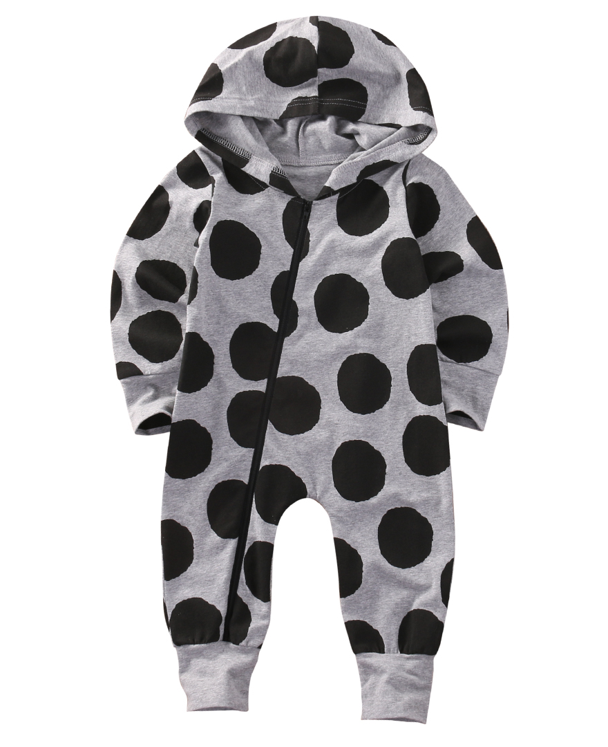 2016 Newborn Infant Baby Boy Girl Clothes Autumn Long Sleeve Polka Dot Cute Cotton Zipper Romper Hooded Jumpsuit Clothes Outfit newborn infant baby girl clothes strap lace floral romper jumpsuit outfit summer cotton backless one pieces outfit baby onesie