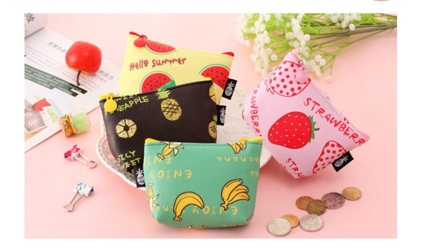 2018 new 50pcs/lot! Lovely Wallet Fashion Cute Leather Wallet Fruit Printed Small Women Purse Coin Card Holder Wholesales