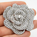 2.4 Inch Large Gold Plated Crystals Rose Brooch Wedding Bridal Dress Broach Vintage Silver Rhodium Tone Crystal Big Brooch