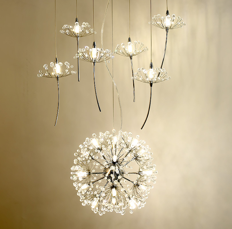 Europe Crystal Chandelier Dandelion Clothing Shop Restaurant Livingroom G4 LED Lighting Stairs Droplight American Flower Lamp