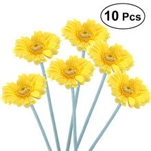 10pcs Artificial Sunflower Plastic Fake Gerbera Bunch for Home Garden Party Wedding Decorationm (Light Yellow)(China)