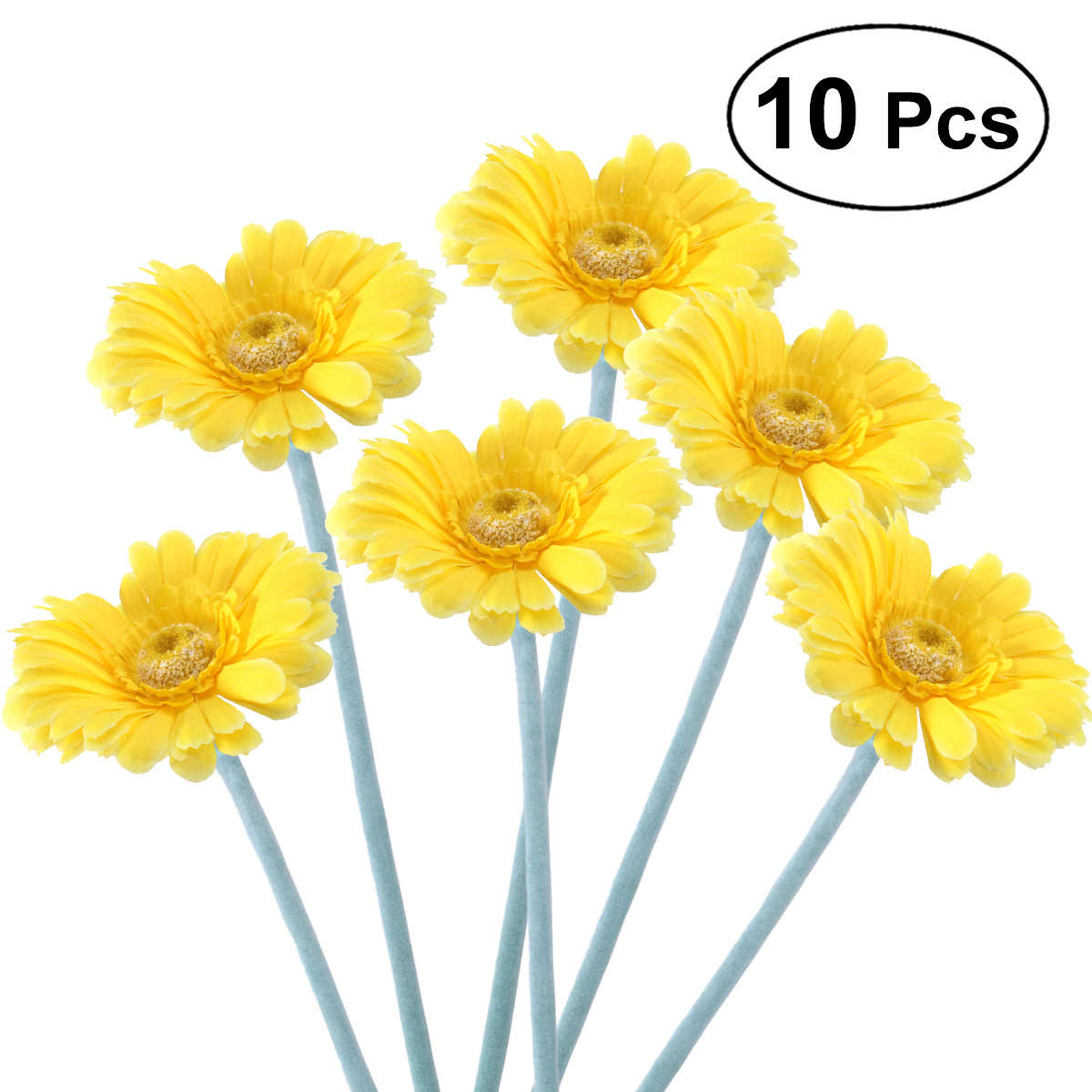 10pcs Artificial Sunflower Plastic Fake Gerbera Bunch for Home Garden Party Wedding Decorationm (Light Yellow)
