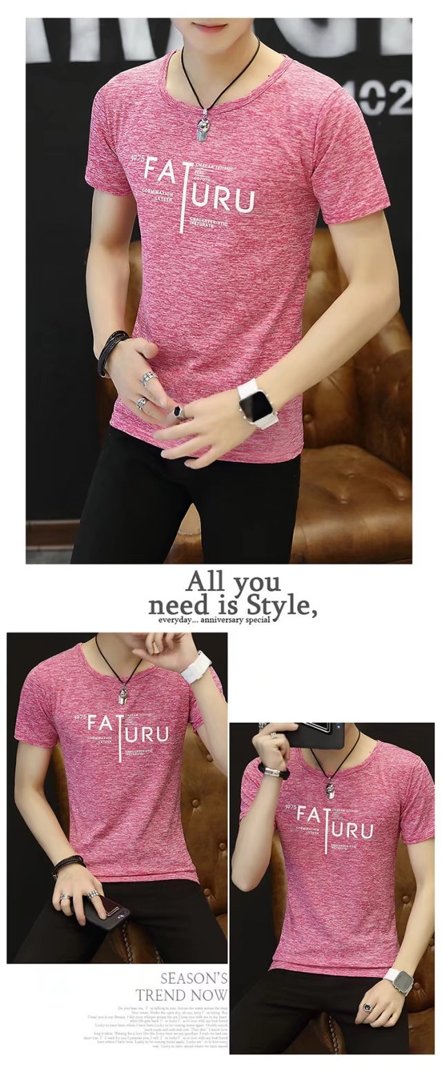 Spring 100% Cotton Casual Short Sleeve Rose Printing Men T Shirt O-neck Knitted Comfortable Fabric Street Style Men T-shirt 57