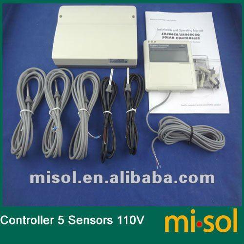 CONTROLLER of SOLAR WATER HEATER, 5 sensor, 110V, for seperate solar system цена