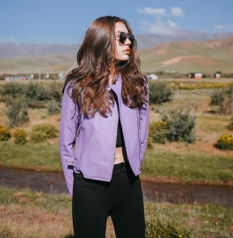 LinRong Store 2017 New Autumn Fashion Street Women's Short Washed PU Leather Jacket Zipper Purple New Ladies Basic Jackets 165220