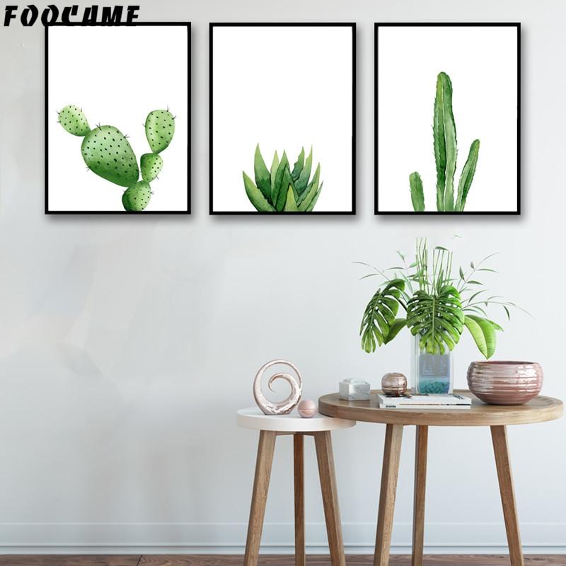 Foocame Plants Cactus Watercolor Aloe Vera Posters And