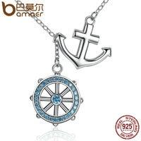 BAMOER Popular Design 925 Sterling Silver Cross Ferris Wheel Blue Anchor Pendants Necklaces Wedding Jewelry SCN049