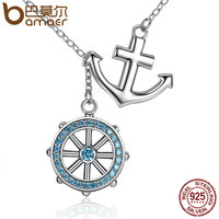 BAMOER Popular Design 925 Sterling Silver Cross Ferris Wheel Blue Anchor Pendants Necklaces Wedding Jewelry SCN049