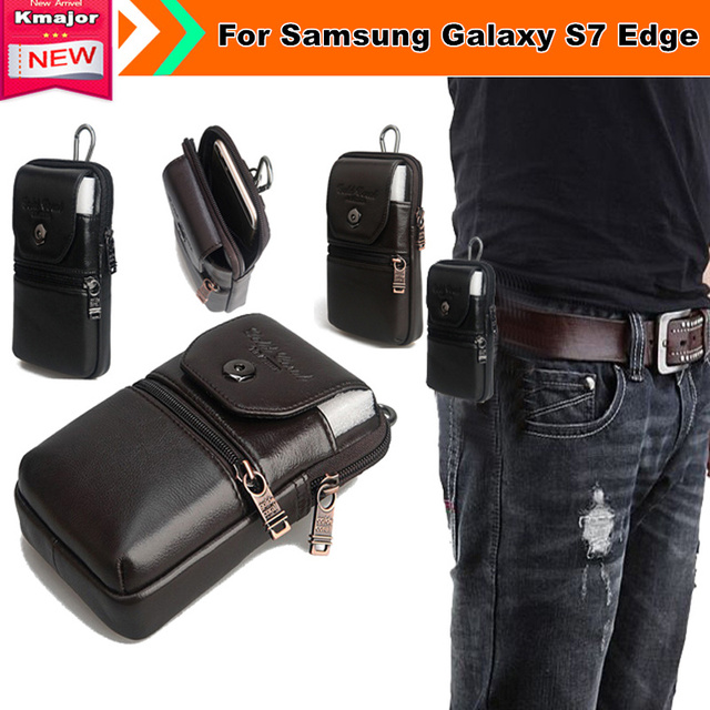 Genuine Leather Belt Clip Pouch Waist Purse Case Cover for Samsung Galaxy S7 Edge SM-G935FD SM-G930FD Duos  Free Shipping