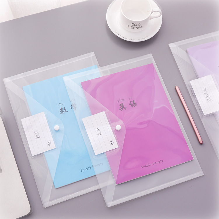Clear Frosted Plastic Filing Bag Folder A4 1pc Envelopes Document Storage Pouch With Label Sticker Expanding File Waterproof