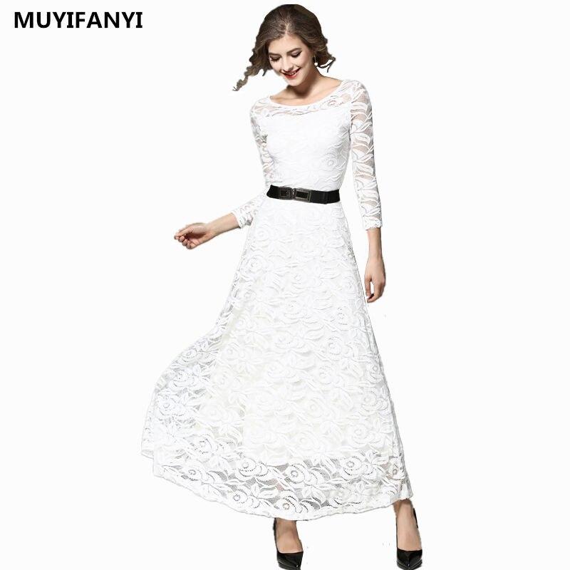 Lange Winter Kleid Frauen 2019 Elegante Sexy Aushöhlen Schwarz Weiß Spitze  Kleid Weibliche Vintage Slim A 60e1060c24