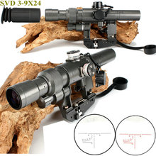 H-gunless Taktis Dragunov 3-9x24 SVD Pertama Focal Plane Sniper Rifle Scope Fit AK 47 Red Illuminated Penglihatan Rifle Scope