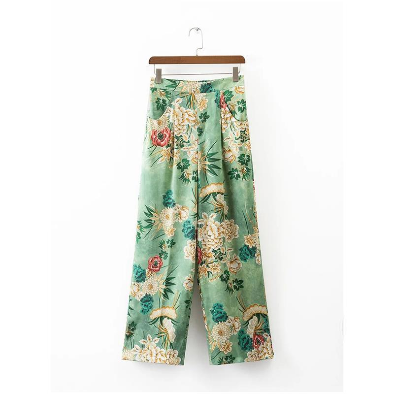 2017 Casual Loose Print Full Length   Wide     Leg     Pants   Elastic Waist High Waist Pleated   Wide     Leg     Pants   With Pockets AQ820988