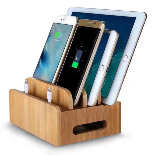 US $22.99 |Für iPad Air iPhone 6 7 8 Plus Smartphones und tabletten Holz  Bambus Multi gerät Kabel Organizer Stehen und Ladestation Dock in Für iPad  ...