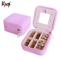 Kpop Square Shape Jewelry Box Display PU Leather Travel Case Storage Box Carrying Cases For Rings