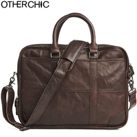 OTHERCHIC Men Portfolios Genuine Leather Brand Briefcase 14 Laptop Business Messenger Bag Crossbody Lawyer Handbags L