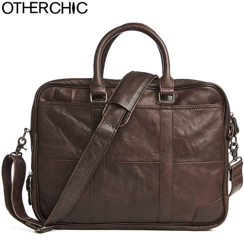 OTHERCHIC Men Portfolios Genuine Leather Brand Briefcase 14
