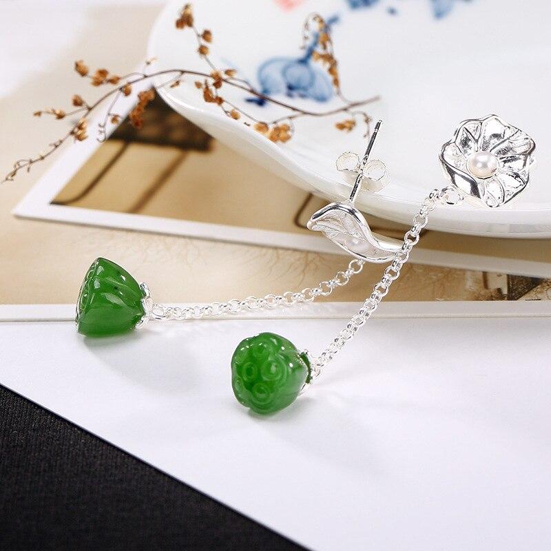 Elegance Jasper Gemstone 100% Authentic 925 Sterling Silver Long Earrings For Women Jewelry Special Style Earrings Fine Jewel