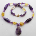 Free Shipping Fashion Jewelry 1Strand Natural Yellow Quartz & Amethyst Necklace 18inch 36g  ZH0114