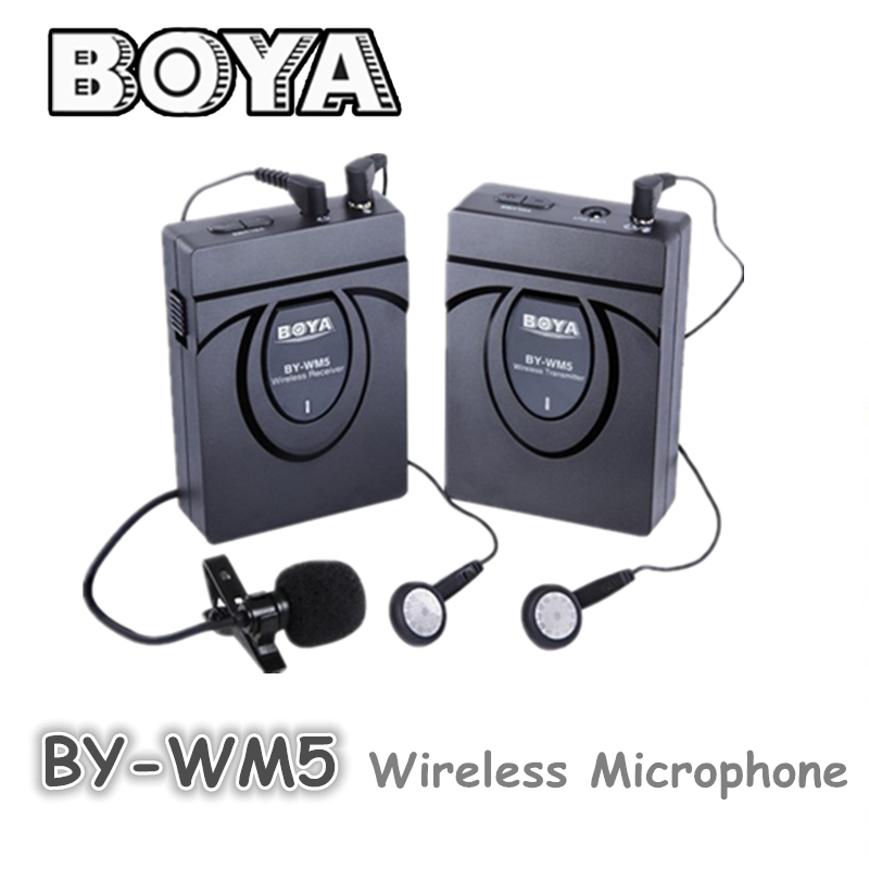 BOYA BY-WM5 Wireless Lavalier Microphone Microphone System for Canon Nikon Sony DSLR Camera  boya by wm5 lavalier clip on mic audio studio recorder wireless microphone microfone for canon sony gopro dslr camera camcorder