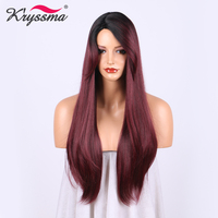 Red Wine Synthetic Hair Wigs for Women Ombre Wig with Black Roots Burgundy Long Straight Wig 20 Inches Heat Resistant Fiber
