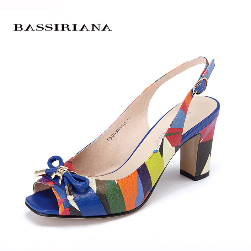 Leather shoes woman New Summer 2017 Heels Peep toe Multi color Basic womens shoes 35-40 Russian size Free shipping BASSIRIANA