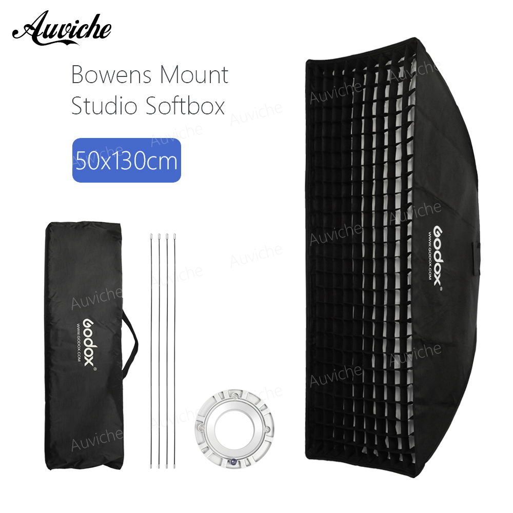 Godox 50cm*130cm Strip Beehive Honeycomb Grid Softbox with for Bowens Mount Studio Strobe Flash Light Photography Lighting godox 90cm 90cm strip beehive honeycomb grid softbox with for bowens mount studio strobe flash light photography lighting