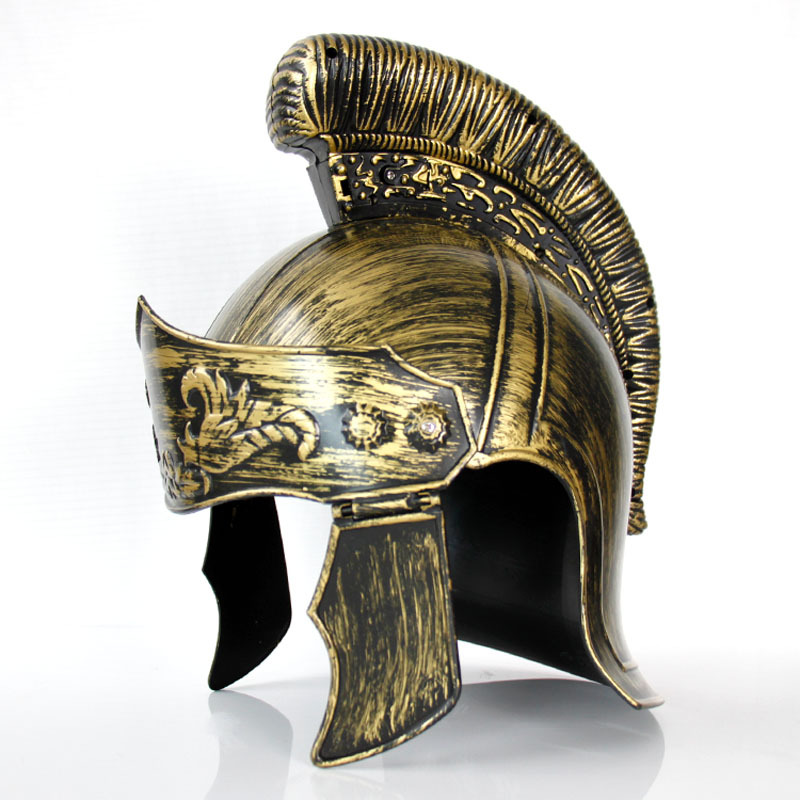 Plastic Cosplay Masquerade Roman Hat Spartan Helmet Roman Warrior Gold  Helmet for Adult bb08f39b43d