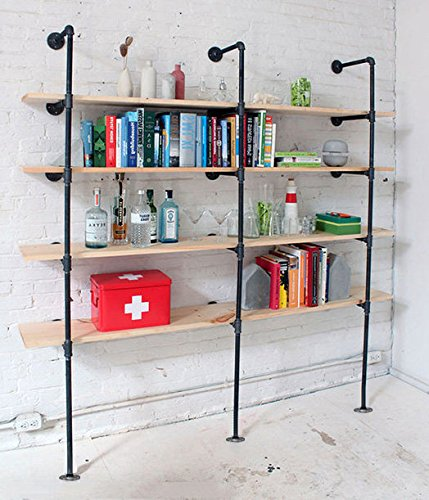 Industrial Pipe Bookcase Shelf Standing Book Shelves Storage Multi Function  5 Tier Storage Bookshelf Rack For Home Decoration  In Wind Chimes U0026 Hanging  ...