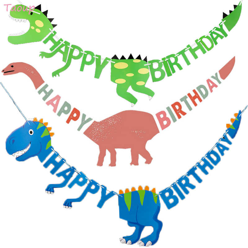 Taoup Happy Birthday Banners Dinosaur Party Decor Baby Shower Girl Birthday Party Decorations Kids Event Party Supplies Jungle