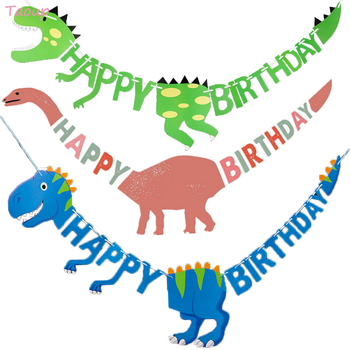 Taoup Happy Birthday Banners Dinosaur Party Decor Baby Shower Boys Decorations Kids Safari Supplies Jungle