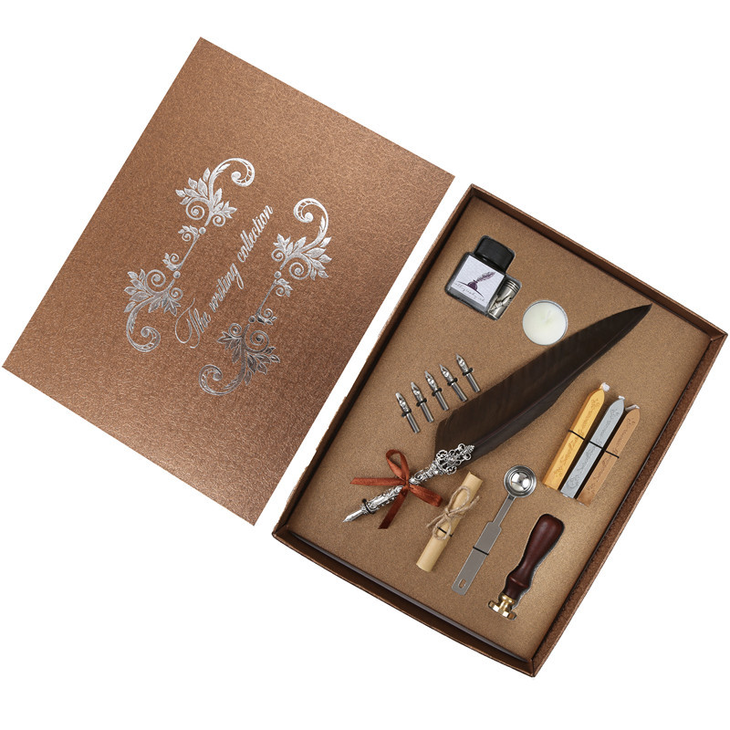 A set of English calligraphy feather pen Writing a fountain pen Stationery gift box Creative gift pen European retro feather pen bnb europe and the united states creative craft feather pen ink set feather pen gift box new metal pen can be customized