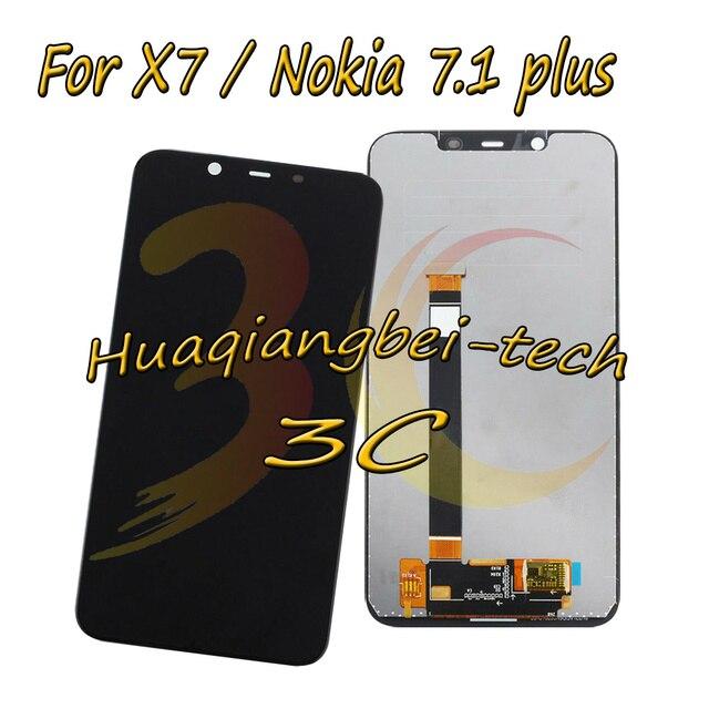 6.18 ''שחור חדש עבור Nokia X7 TA-1131 מלא LCD תצוגה + מסך מגע Digitizer עצרת עבור Nokia 7.1 בתוספת 100% נבדק