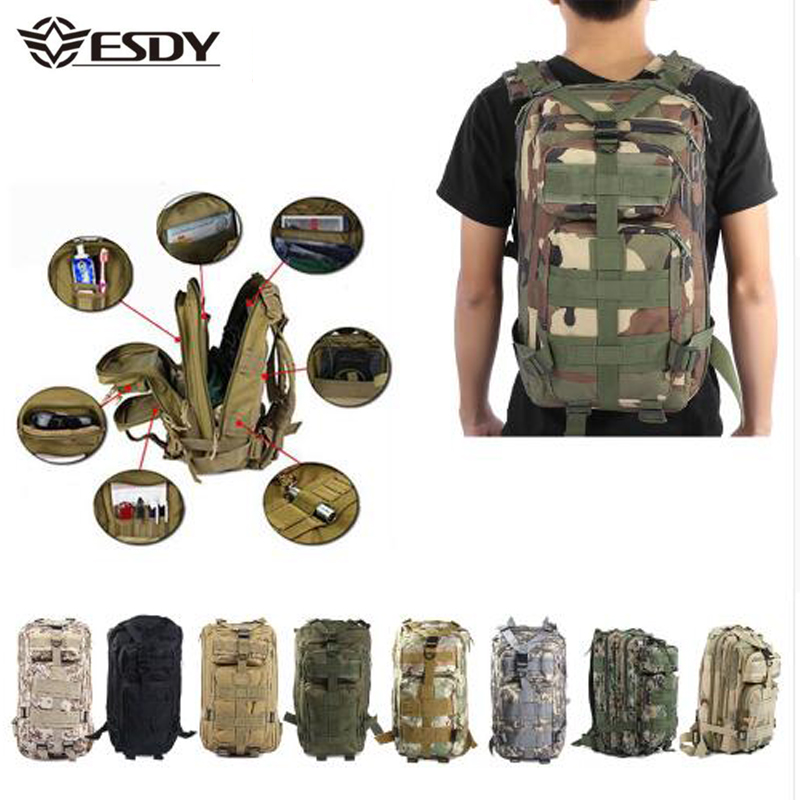 Mochila militar táctica 30L camuflaje deporte al aire libre senderismo Camping caza bolsas mujer viaje mochila de senderismo