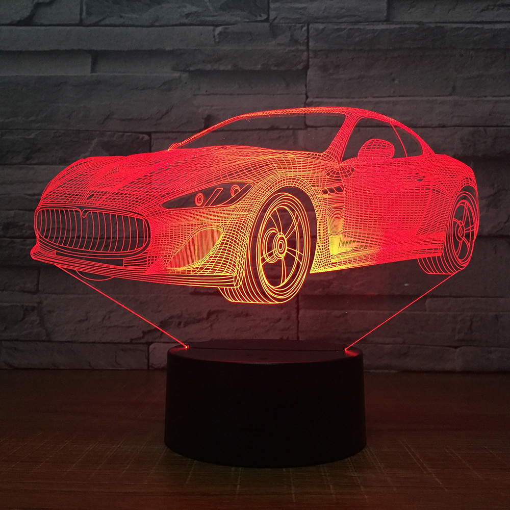 Creative Gifts Decoration Bedside Desktop Vision Sports Car Modeling 7 Color Change Table Lamp Baby Sleep 3D LED USB Night Light