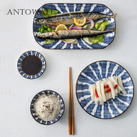 ANTOWALL Rectangular steamed fish dish sushi snack plate home blue grid white striped ceramic dish plate Japanese tableware