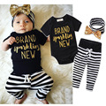 2017 New arrival Summer Newborn Baby Clothes Short Sleeve Romper Bodysuit Stripe Pant Headdress Outfit Clothing Kid Suit H483
