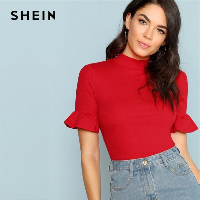 9d9b85103e SHEIN Mock Neck Ruffle Cuff Tee 2019 Elegant Women Clothes Summer Tee Tops  Solid Flounce Sleeve Stand Collar Tshirt