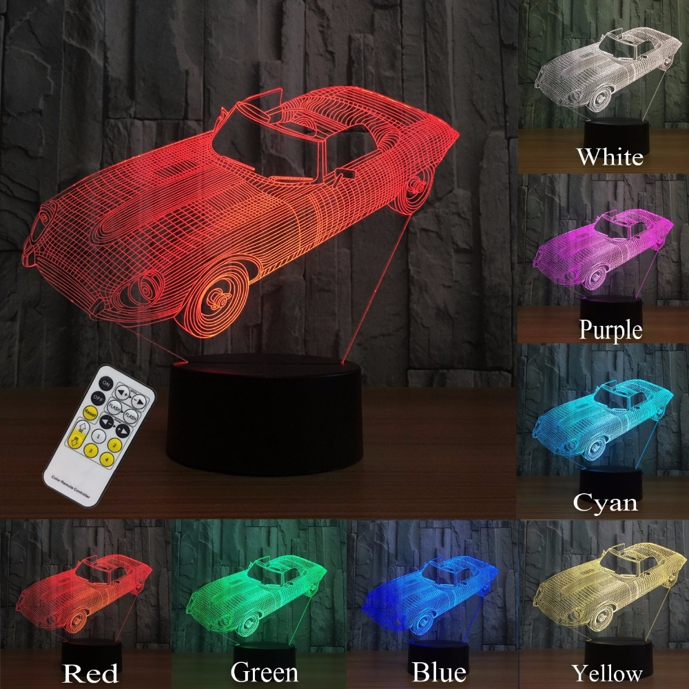 Night Lights for Kids Toy Remote Car 3d Night Light Lamp Help Kids Fell Safe 7 Colors Novelty Gift for Boys and Girls Birthday