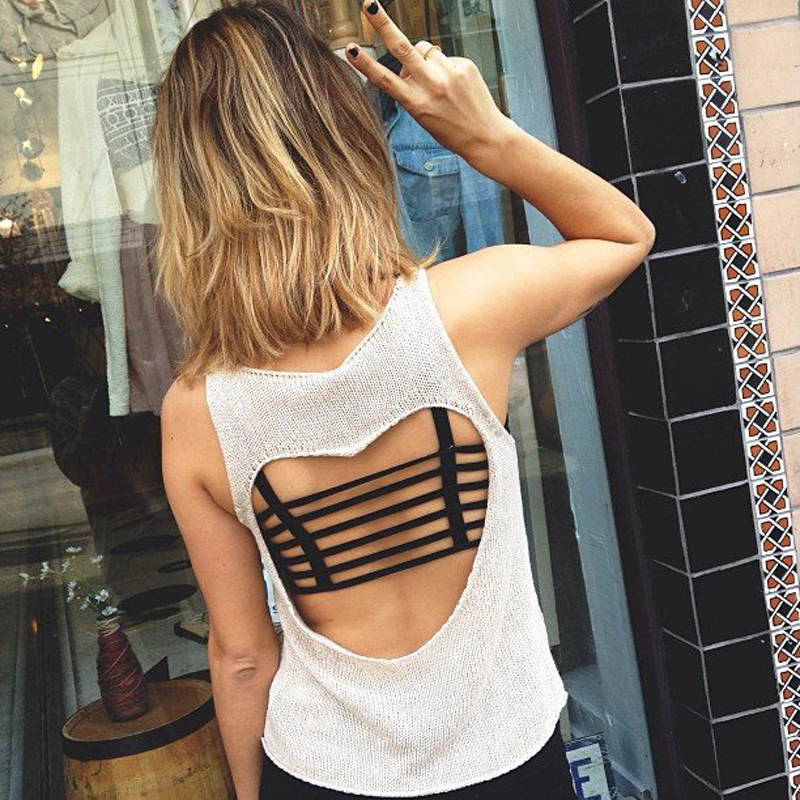 Arherigele <font><b>Sexy</b></font> Women's Padded Bra Backless Hollow Out Crop Tops Cut Out Padded Bra <font><b>Bralette</b></font> Cotton Beach Party Vest Tank Tops image
