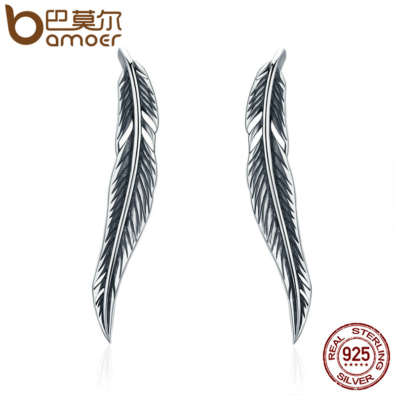 BAMOER Otentik 100% 925 Sterling Silver Feathers Wing Stud Earrings - Perhiasan fashion - Foto 1