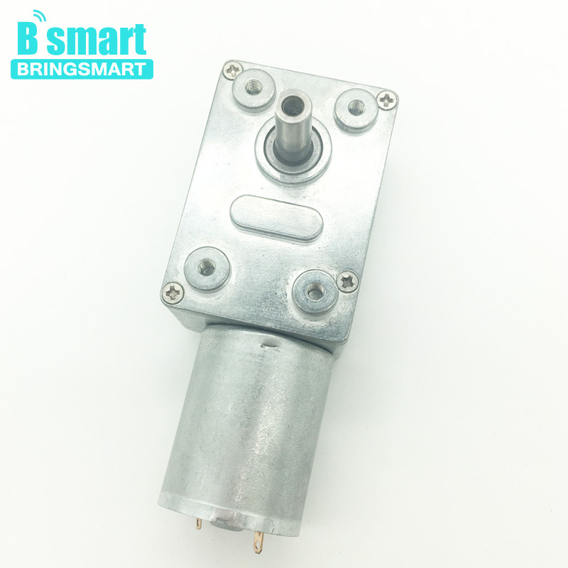 Bringsmart JGY-370 High Torque 12V DC Motor Worm Gearbox 3-210RPM/MIN Reversed With Self-Lock 24V Motor 6V For DIY Curtain etc. bringsmart worm gear motor high torque 70kg cm 12v dc motor mini gearbox 24v motor reversed self lock engine diy parts a58sw31zy