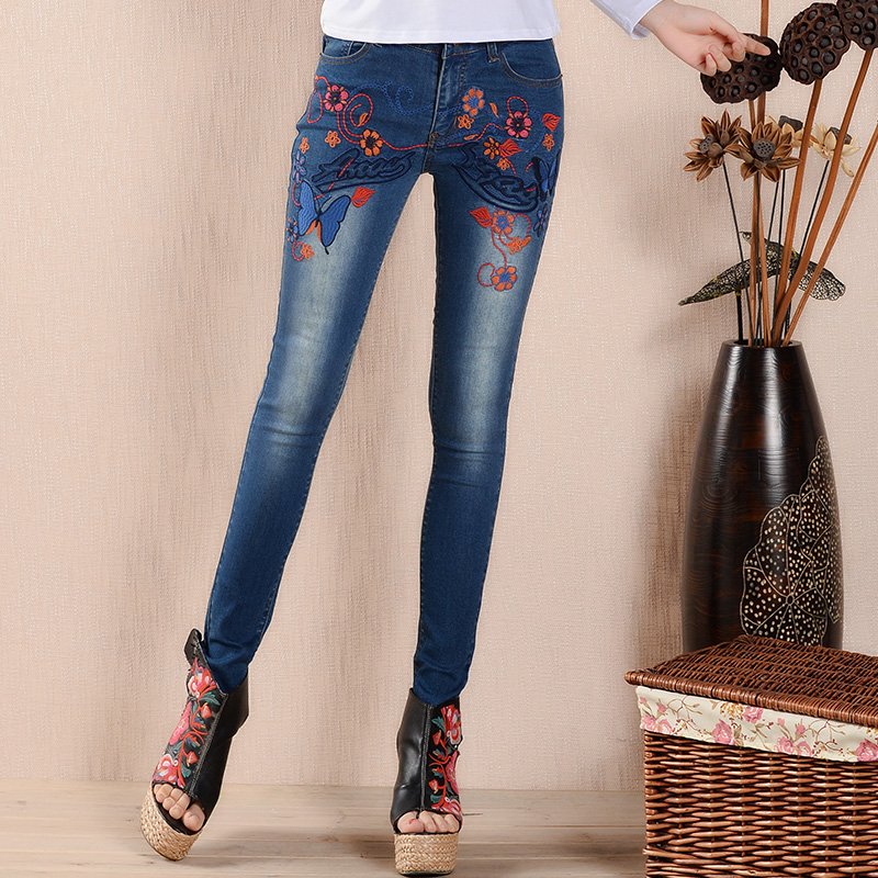Women Flower Embroidery Skinny Jeans Female Casual Denim Pencil Long Pants Trousers Blue Plus Size 26-32 L936 sexy women denim light blue skinny jeans crochet lace party female carve flower pants for women plus size s 3xl clothing k096